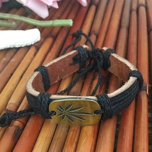 Leather Bracelet with Leaffff Emblem